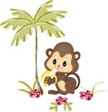 Monkey eating banana under palm