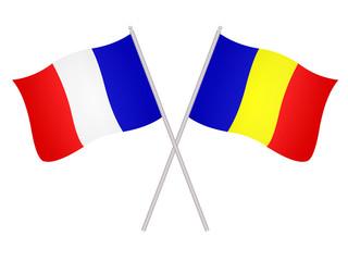 Drapeaux de l'alliance France Roumanie