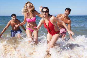 Group Of Friends Enjoying Beach Holiday