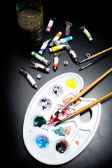 watercolor tray and paint brush