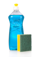 Liquid detergent bottle and scouring pad isolated