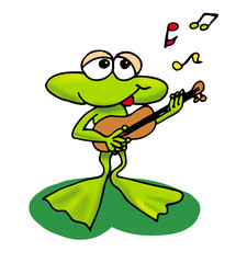 Frosch spielt Gitarre