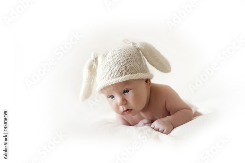 cute newborn baby bunny in the cap