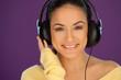 Beautiful brunette listening to music
