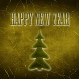 The Inscription Happy New Year with Christmas Tree