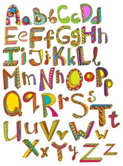 Color hand drawn alphabet