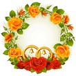 Red and yellow rose circle wedding frame