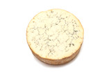 Stilton cheese isolated on a white background.