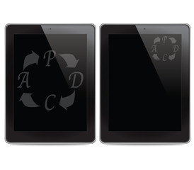PDCA (Plan Do Check Act) icon on tablet computer background