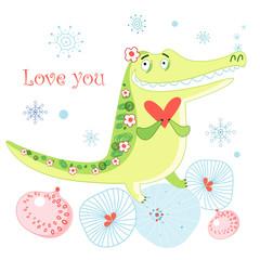 greeting card with a crocodile