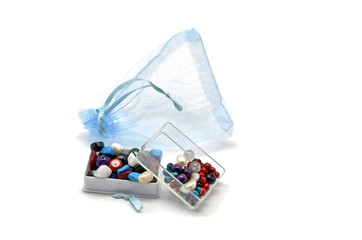 Gift bag with beads and trinkets boxes