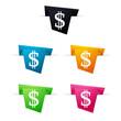 Symbole vectoriel papier origami Dollar