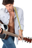 Man playing the guitar on white background