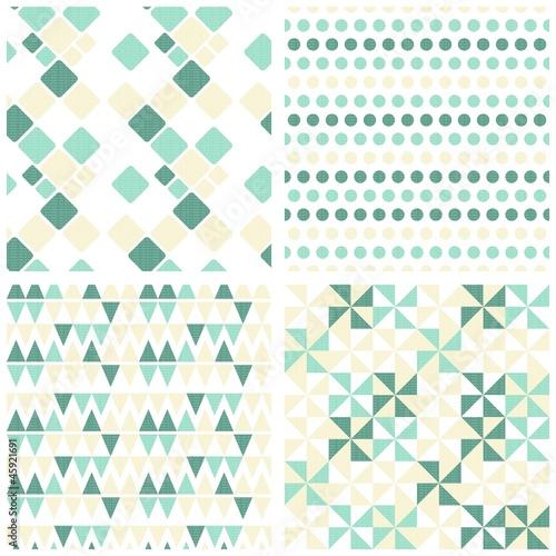retro kwadraty kropki trójkąty zestaw turkusowy