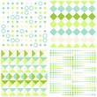 retro kwadraty kółka i kropki zestaw turkusowo zielony