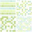 retro kwadraty kółka i trójkąty zestaw turkusowo zielony