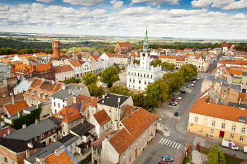 Aerial view on city hall - Chelmno, Poland.