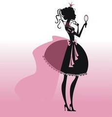 Силуэт принцессы с зеркалом