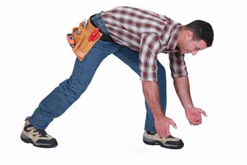 Man pretending to carry