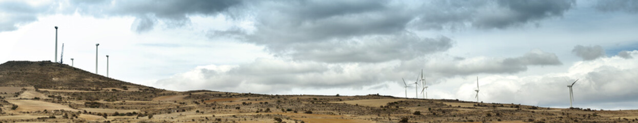 Installation of wind turbines panorama
