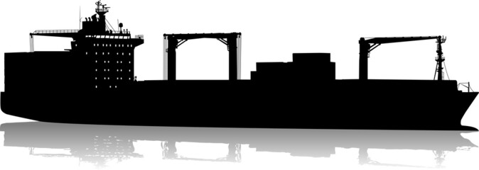Vector silhouette of the sea tanker ship