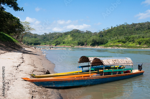 Tourist boats on Usumacinta river going to Yaxchilan (Mexico)
