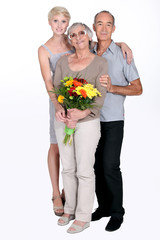Elderly parents and daughter
