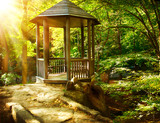 Fototapety Arbor in Autumnal Park. Landscaping