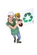 A female construction worker first in recycling.
