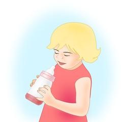 Little Girl with Feeding Bottle