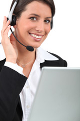 Young receptionist with headset
