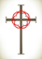 Christian cross and wreath