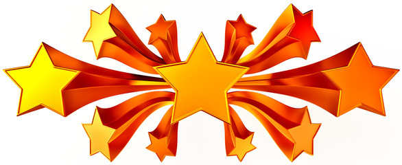 set of eleven shiny gold stars in motion
