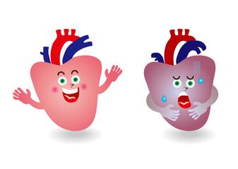 心臓のキャラクターイラスト