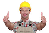 Tradesman giving two thumb's up