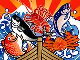 大漁旗5匹
