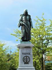 Statue Valentin Vodnik at Ljubljana in Slovenia