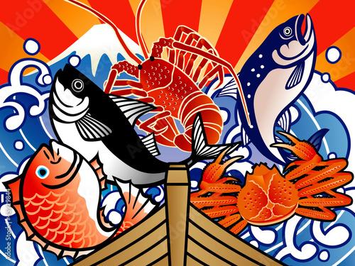 大漁旗5匹 - 45929844