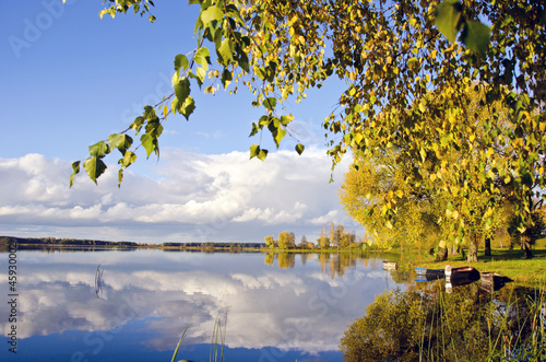 autumn lake sunny landscape in evening