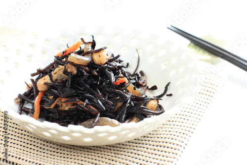 Japanese simmered seaweed with soy bean
