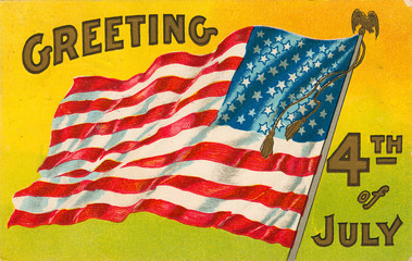 4th of july vintage postcard with flag