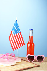 concept of Labor Day in America, on blue background close-up