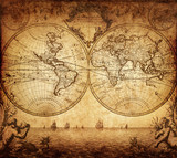 Fototapeta vintage map of the world 1733