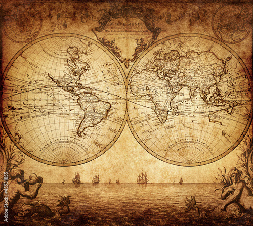 Poster vintage map of the world 1733