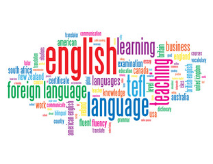 """ENGLISH"" Tag Cloud (foreign language teaching class course)"