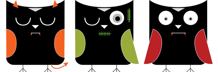 halloween character in owls illustration