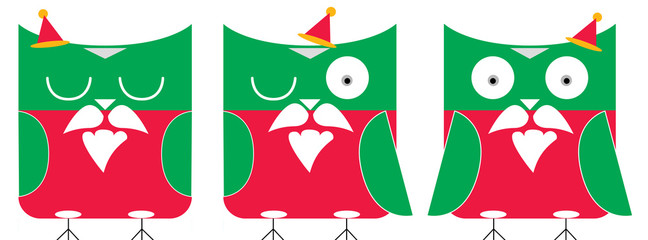 christmas owls illustration