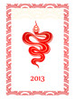 Oriental New Year card with snake, Zodiac symbol 2013