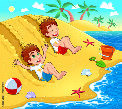 Twins are playing on the beach. Vector illustration.