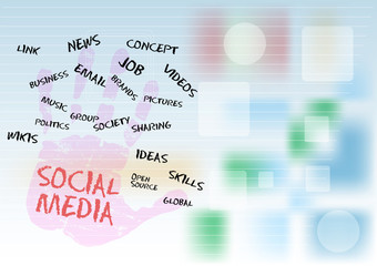 Social media and network, free copy space